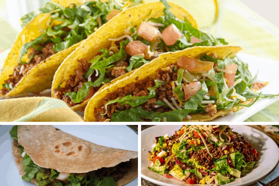 crunchy taco, soft shell taco, and taco salad